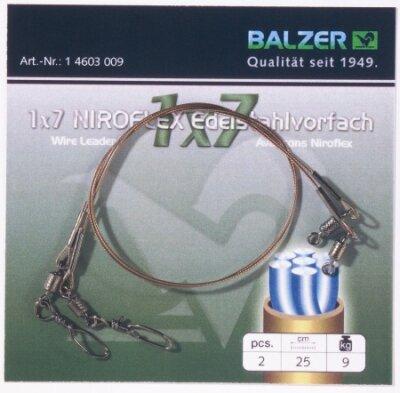 Balzer 1x7 Stahlvorfach Niroflex mit Ryderhaken 50cm Gr 4 6Kg 146010004